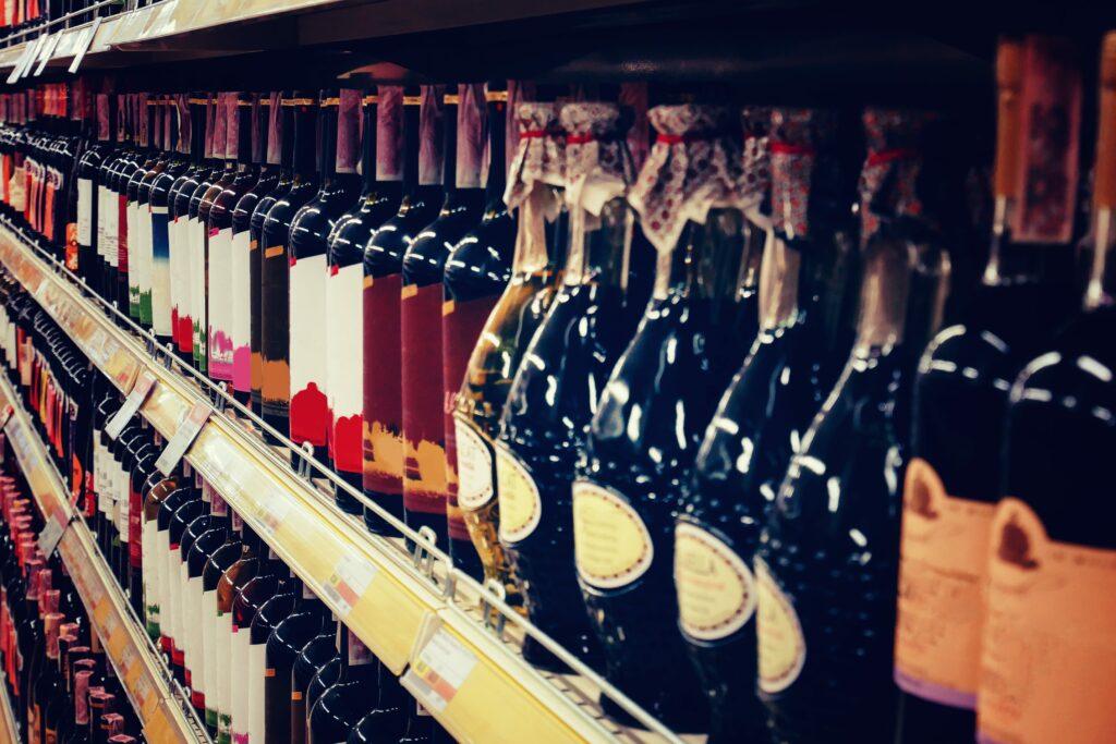 Bottles of liquor on a shelf