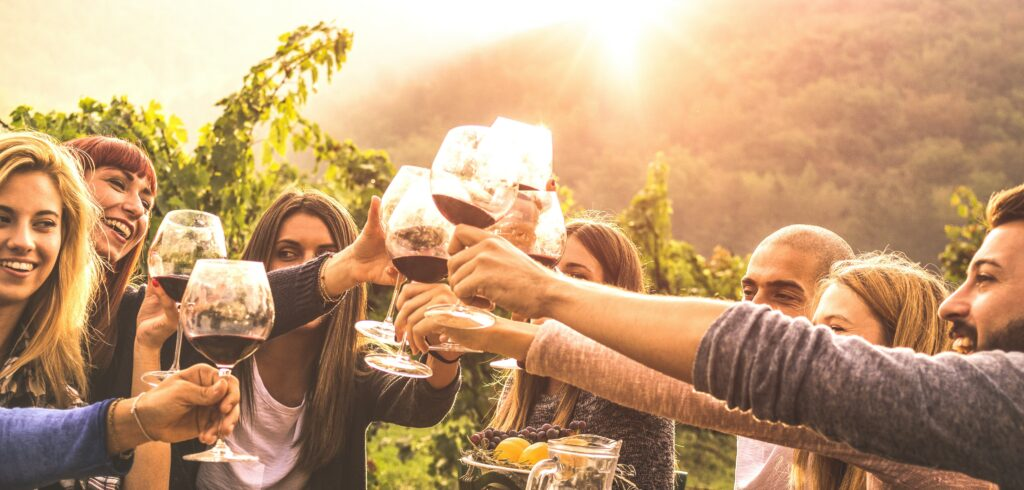 Friends toasting wine
